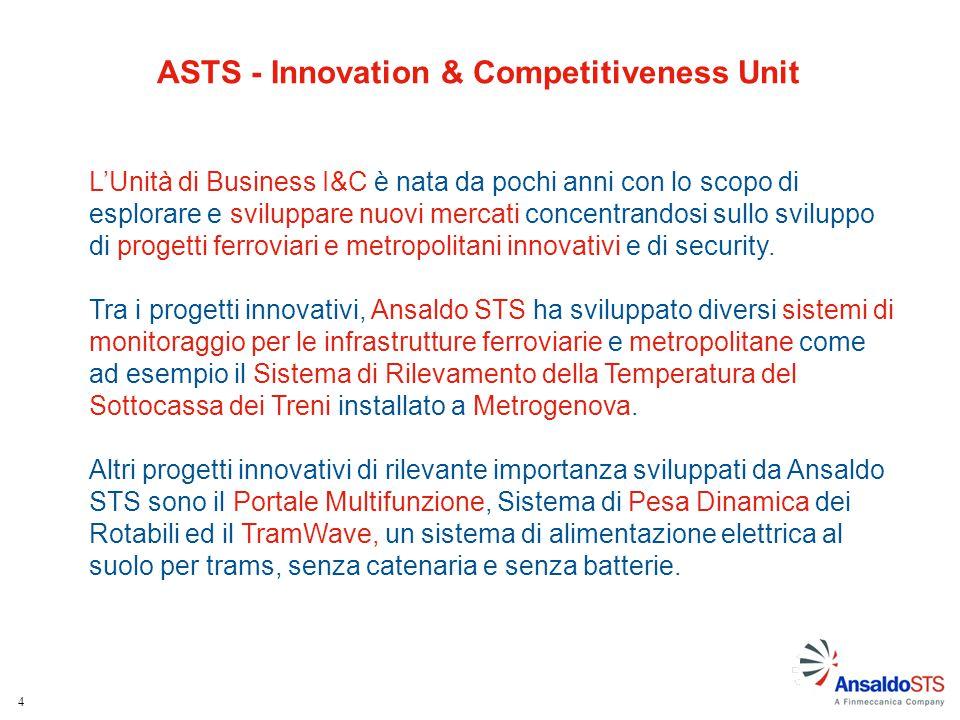 5 I sistemi di monitoraggio per le infrastrutture ferroviarie e metropolitane (sviluppati da Ansaldo STS e non), sono integrati in un'unica piattaforma software.