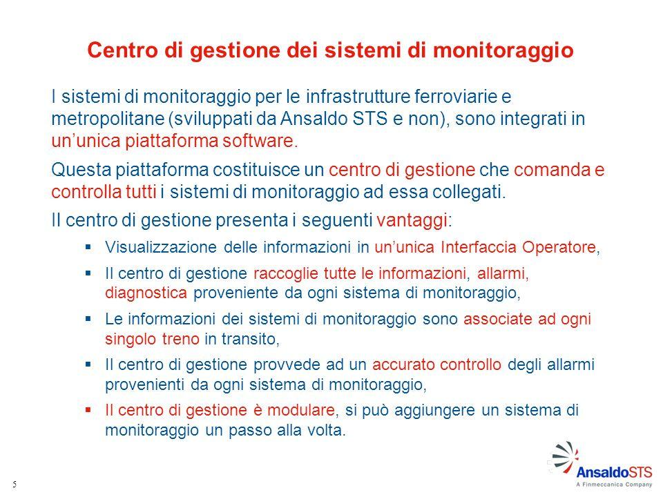 5 I sistemi di monitoraggio per le infrastrutture ferroviarie e metropolitane (sviluppati da Ansaldo STS e non), sono integrati in un'unica piattaform