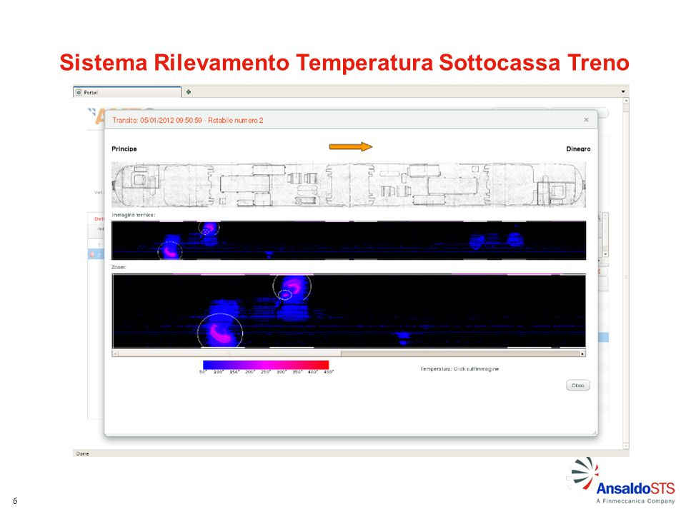 17 Esempio allarme termico – zona dischi Immagine CAD sottocassa Immagine termica Zoom Immagine termica Legenda in falsi colori Temperatura rilevata