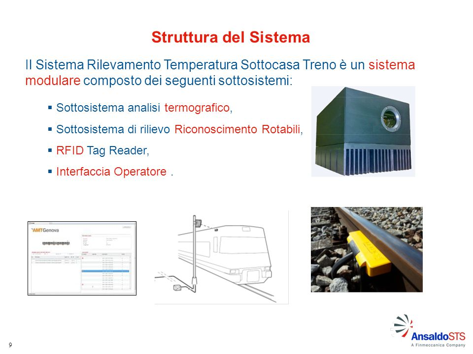 9 Struttura del Sistema Il Sistema Rilevamento Temperatura Sottocasa Treno è un sistema modulare composto dei seguenti sottosistemi:  Sottosistema an