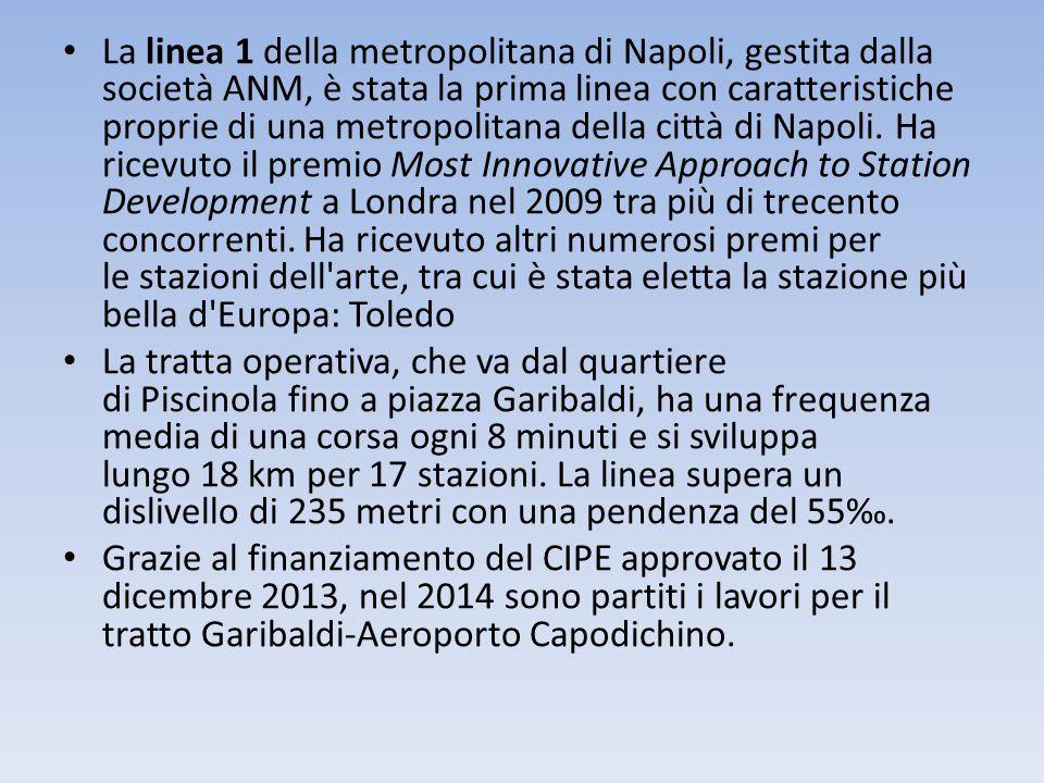 La linea 1 della metropolitana di Napoli, gestita dalla società ANM, è stata la prima linea con caratteristiche proprie di una metropolitana della cit