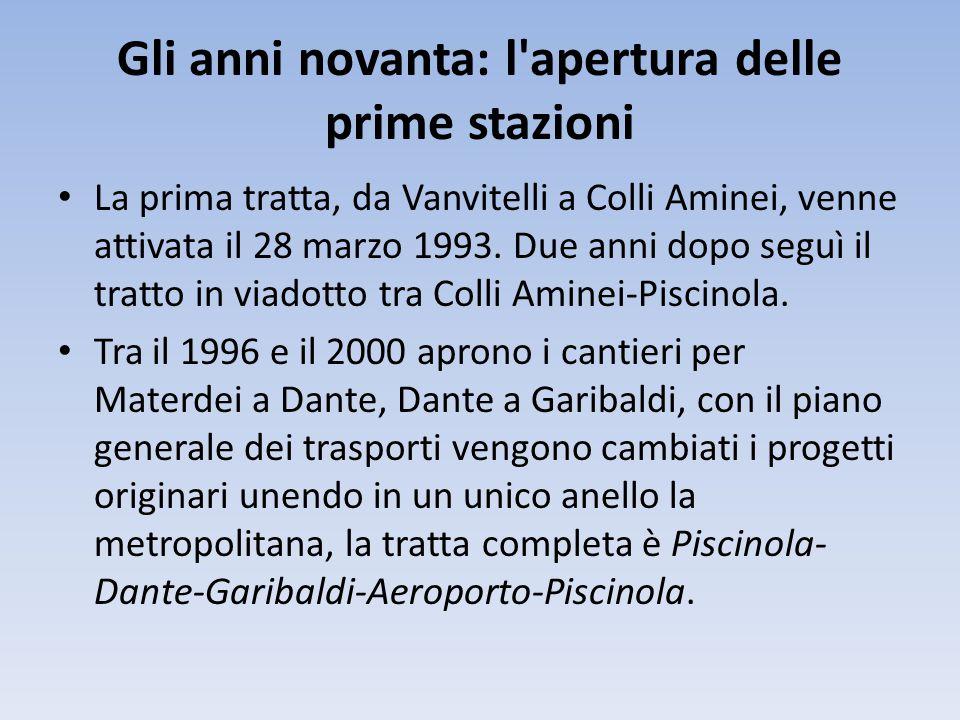 Gli anni novanta: l'apertura delle prime stazioni La prima tratta, da Vanvitelli a Colli Aminei, venne attivata il 28 marzo 1993. Due anni dopo seguì