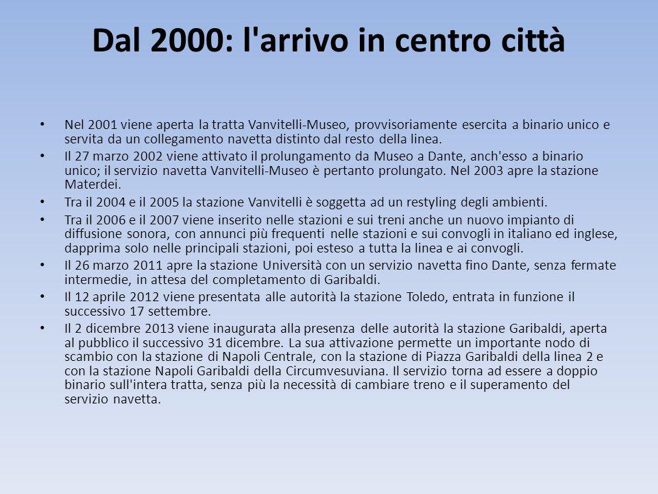 Dal 2000: l'arrivo in centro città Nel 2001 viene aperta la tratta Vanvitelli-Museo, provvisoriamente esercita a binario unico e servita da un collega