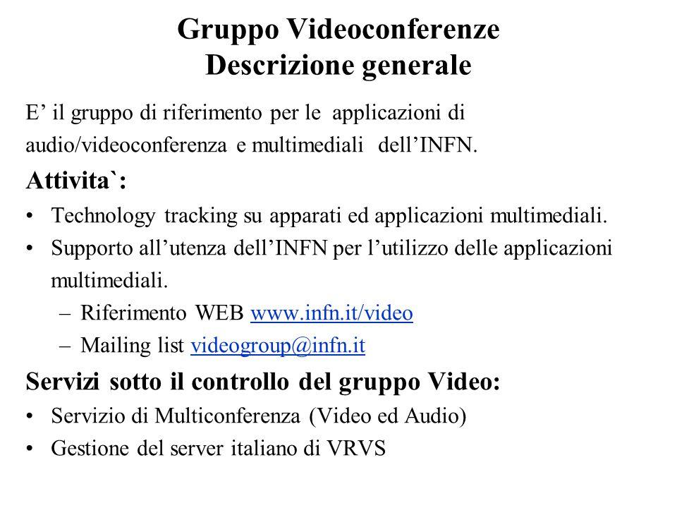 Gruppo Videoconferenze Servizio di Multiconferenza Apparato: MCU IP/ISDN/PSTN (telefonica) fino a 12 utenti (espandibile) Utilizzo del servizio: 180-200 Multiconferenze all'anno in tecnologia mista.