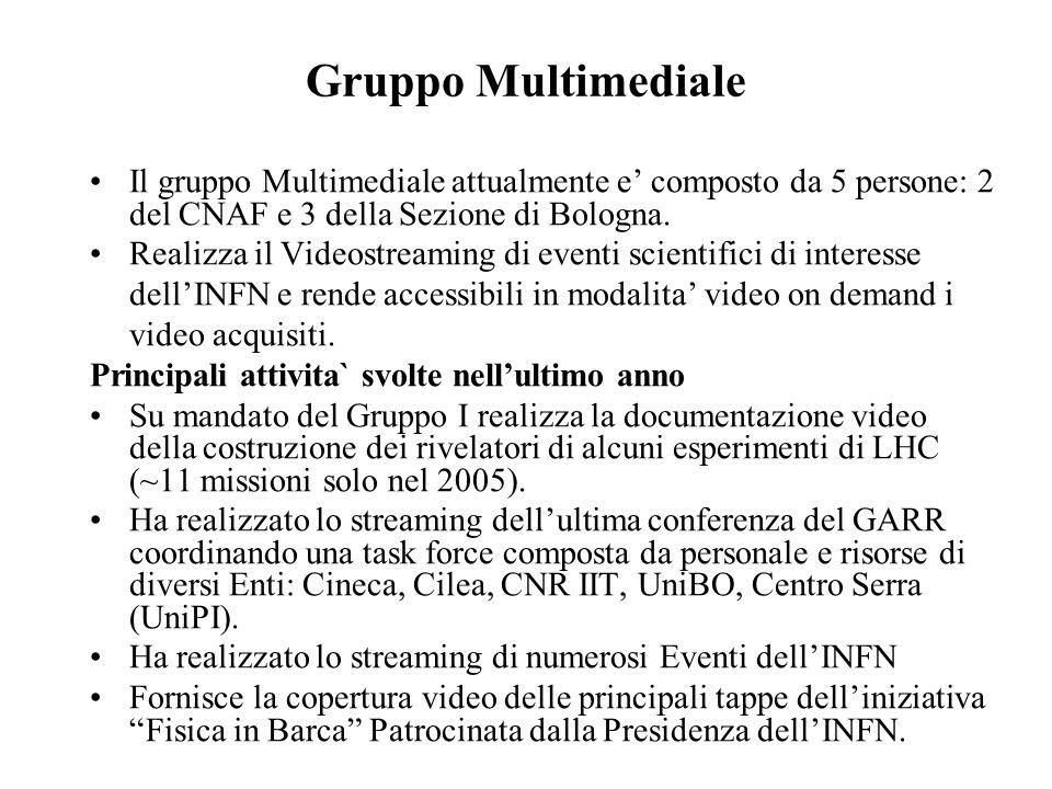Il gruppo Multimediale attualmente e' composto da 5 persone: 2 del CNAF e 3 della Sezione di Bologna. Realizza il Videostreaming di eventi scientifici