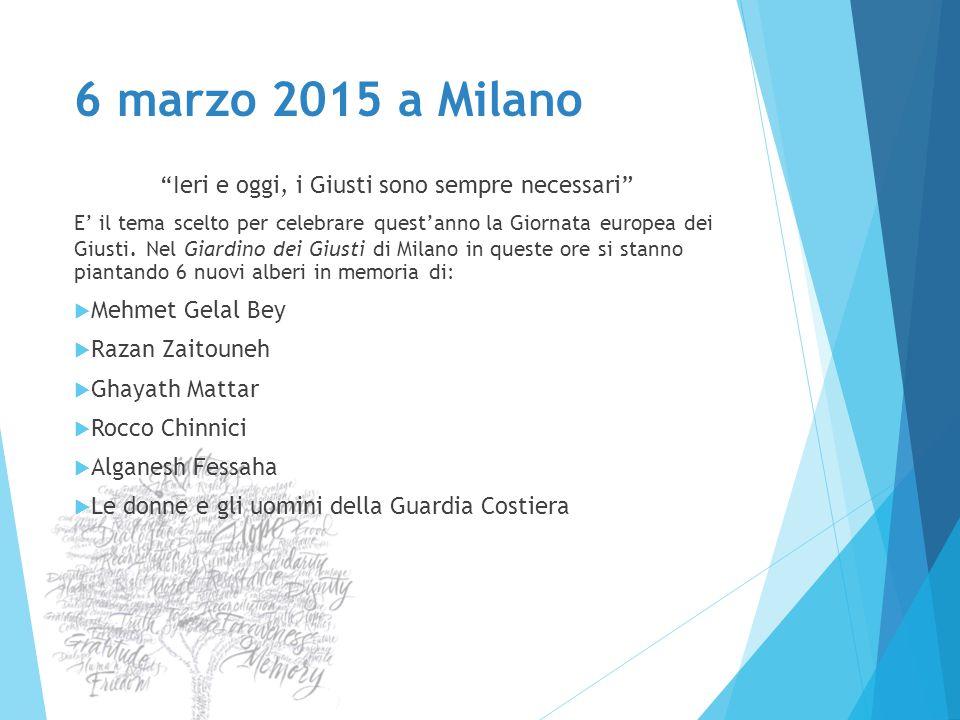 """6 marzo 2015 a Milano """"Ieri e oggi, i Giusti sono sempre necessari"""" E' il tema scelto per celebrare quest'anno la Giornata europea dei Giusti. Nel Gia"""