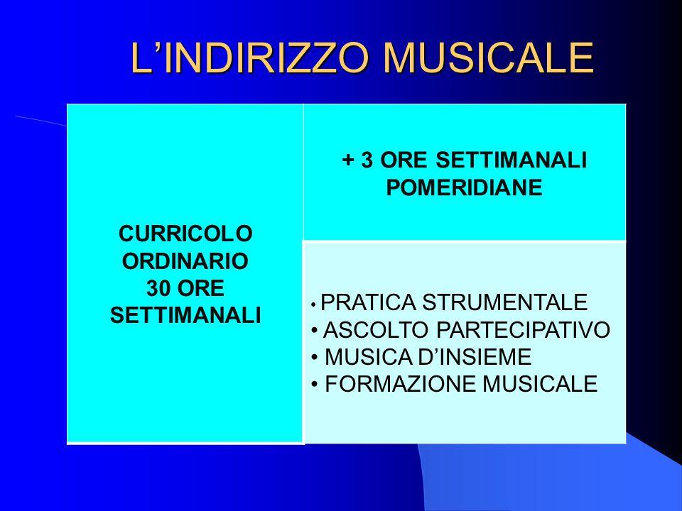 L'INDIRIZZO MUSICALE CURRICOLO ORDINARIO 30 ORE SETTIMANALI + 3 ORE SETTIMANALI POMERIDIANE PRATICA STRUMENTALE ASCOLTO PARTECIPATIVO MUSICA D'INSIEME