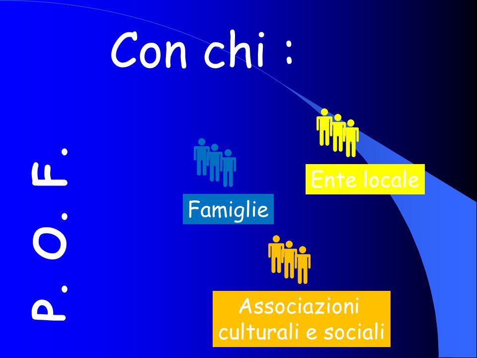 P. O. F. Con chi : FamiglieEnte locale Associazioni culturali e sociali