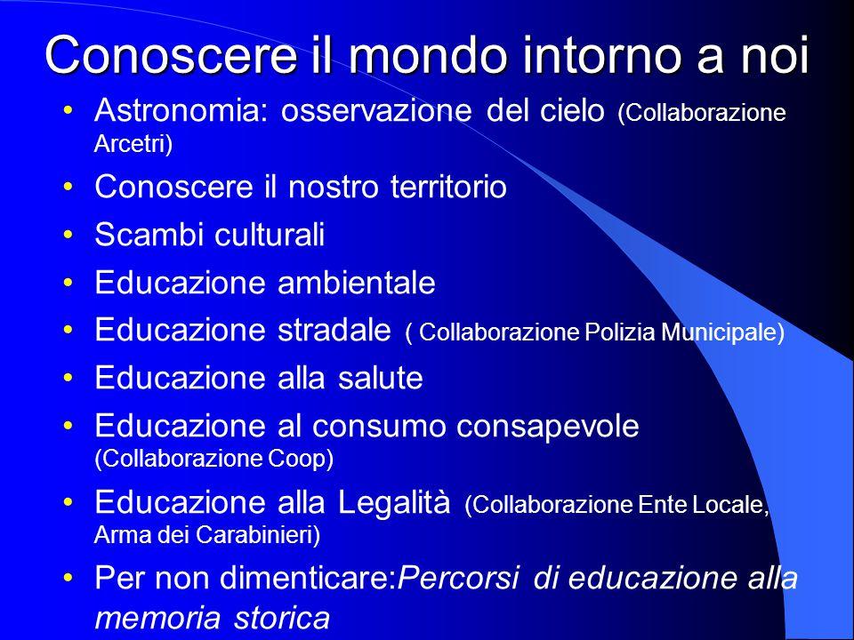 Conoscere il mondo intorno a noi Astronomia: osservazione del cielo (Collaborazione Arcetri) Conoscere il nostro territorio Scambi culturali Educazion