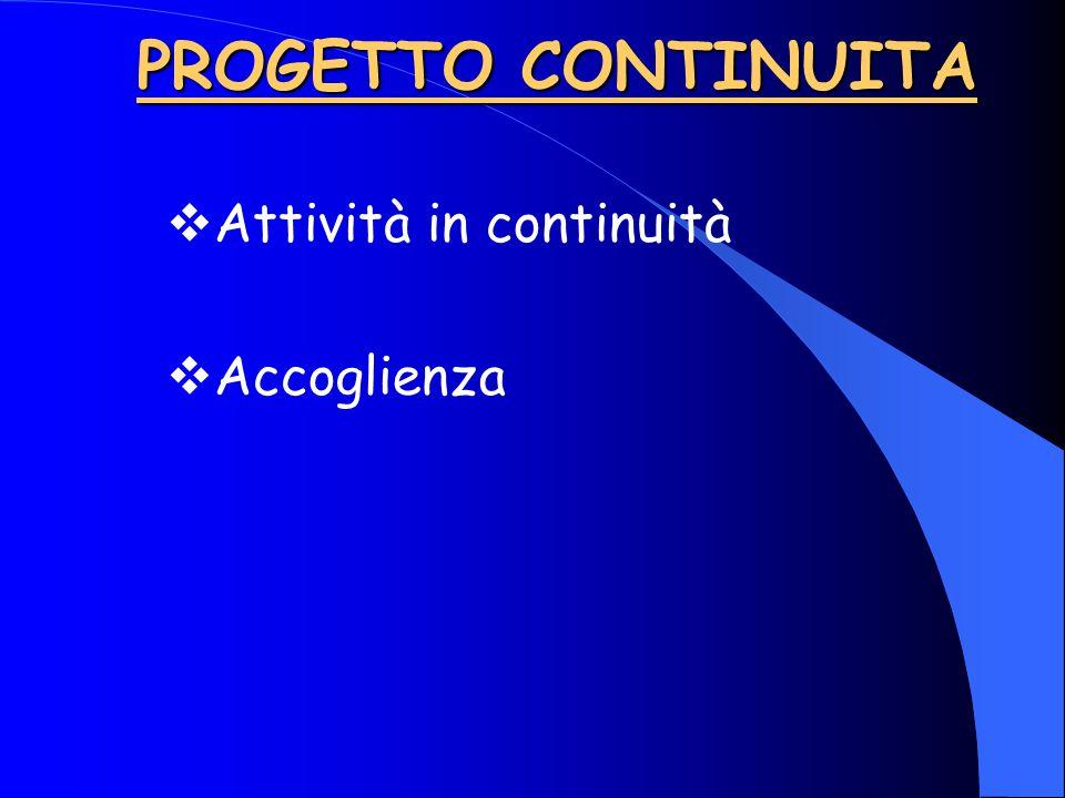 PROGETTO CONTINUITA  Attività in continuità  Accoglienza