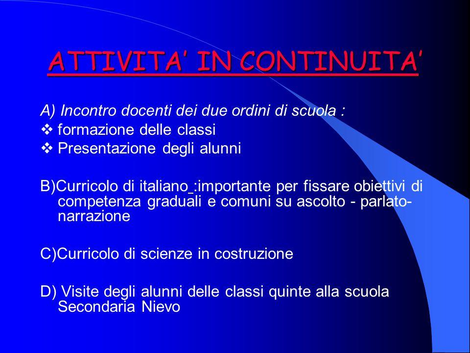 ATTIVITA' IN CONTINUITA' A) Incontro docenti dei due ordini di scuola :  formazione delle classi  Presentazione degli alunni B)Curricolo di italiano