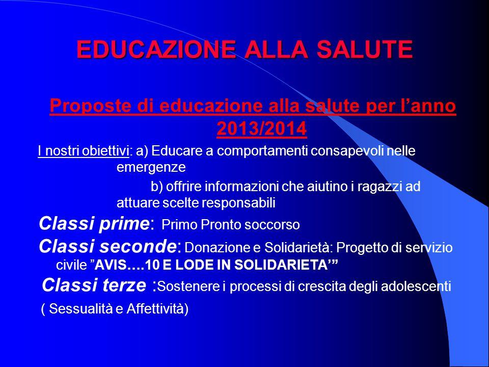 EDUCAZIONE ALLA SALUTE Proposte di educazione alla salute per l'anno 2013/2014 I nostri obiettivi: a) Educare a comportamenti consapevoli nelle emerge