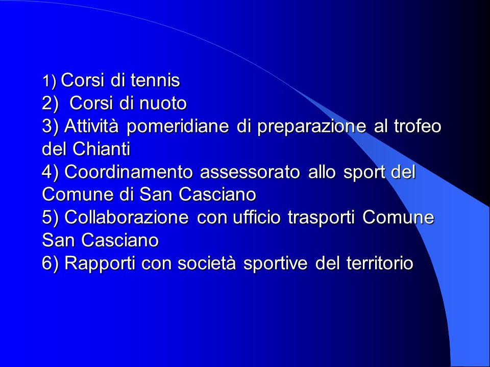 1) Corsi di tennis 2) Corsi di nuoto 3) Attività pomeridiane di preparazione al trofeo del Chianti 4) Coordinamento assessorato allo sport del Comune
