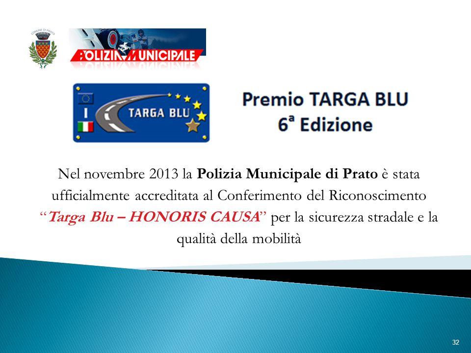 32 Nel novembre 2013 la Polizia Municipale di Prato è stata ufficialmente accreditata al Conferimento del Riconoscimento Targa Blu – HONORIS CAUSA per la sicurezza stradale e la qualità della mobilità