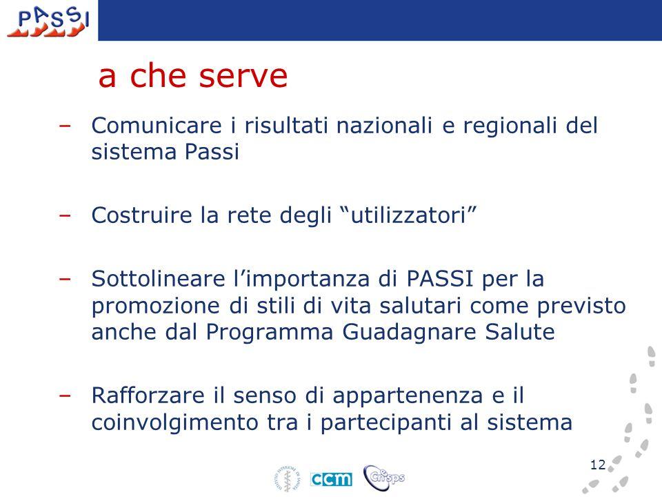 """12 a che serve –Comunicare i risultati nazionali e regionali del sistema Passi –Costruire la rete degli """"utilizzatori"""" –Sottolineare l'importanza di P"""