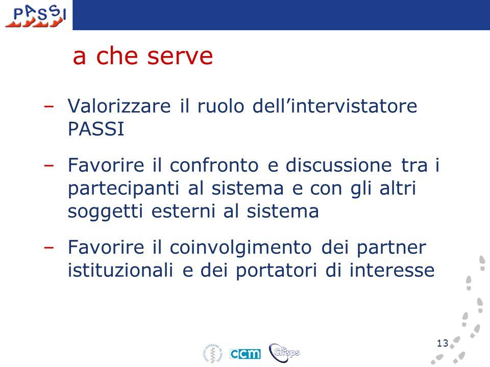 13 a che serve –Valorizzare il ruolo dell'intervistatore PASSI –Favorire il confronto e discussione tra i partecipanti al sistema e con gli altri sogg