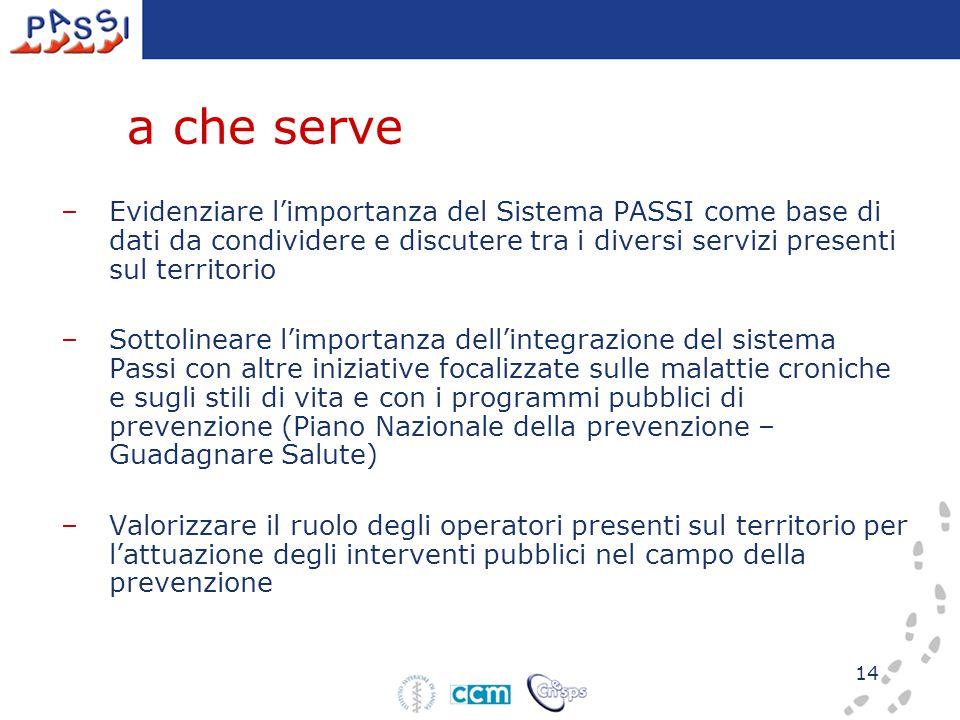 14 a che serve –Evidenziare l'importanza del Sistema PASSI come base di dati da condividere e discutere tra i diversi servizi presenti sul territorio