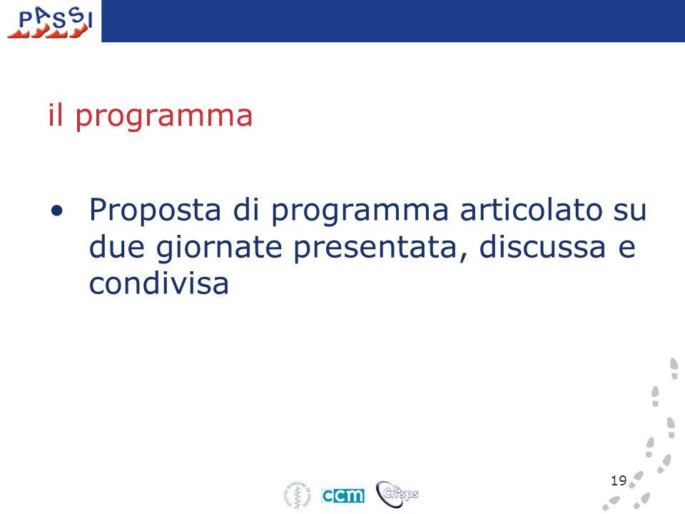 19 il programma Proposta di programma articolato su due giornate presentata, discussa e condivisa