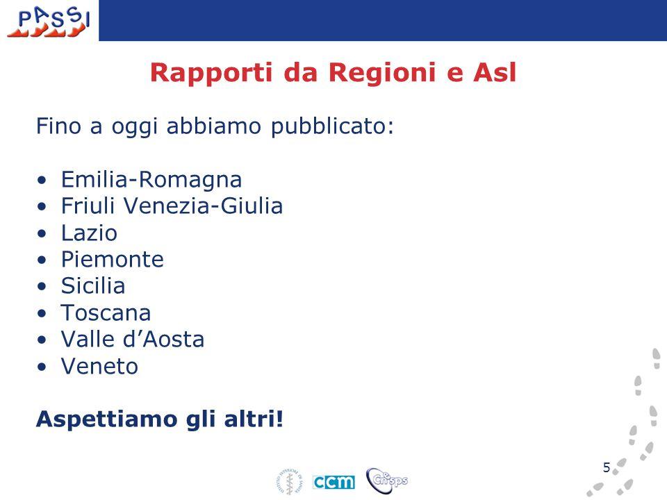 5 Rapporti da Regioni e Asl Fino a oggi abbiamo pubblicato: Emilia-Romagna Friuli Venezia-Giulia Lazio Piemonte Sicilia Toscana Valle d'Aosta Veneto A