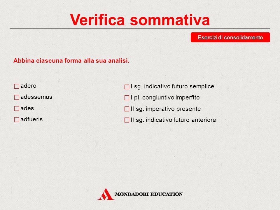 Verifica sommativa Esercizi di consolidamento Indica la seconda persona singolare del futuro anteriore di possum.