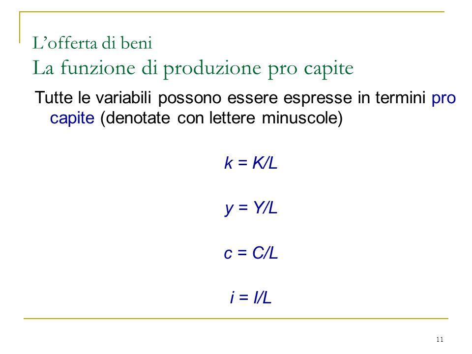 11 Tutte le variabili possono essere espresse in termini pro capite (denotate con lettere minuscole) k = K/L y = Y/L c = C/L i = I/L L'offerta di beni La funzione di produzione pro capite