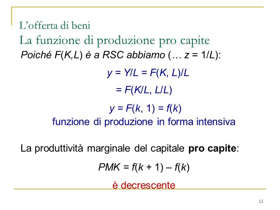13 Poiché F(K,L) è a RSC abbiamo (… z = 1/L): y = Y/L = F(K, L)/L = F(K/L, L/L) y = F(k, 1) = f(k) funzione di produzione in forma intensiva La produttività marginale del capitale pro capite: PMK = f(k + 1) – f(k) è decrescente L'offerta di beni La funzione di produzione pro capite