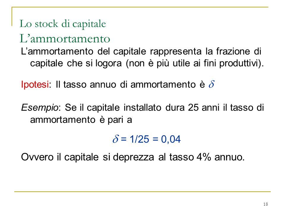 18 L'ammortamento del capitale rappresenta la frazione di capitale che si logora (non è più utile ai fini produttivi).