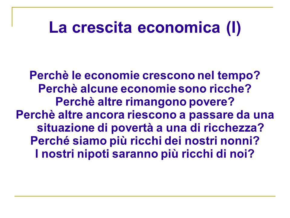 La crescita economica (I) Perchè le economie crescono nel tempo.
