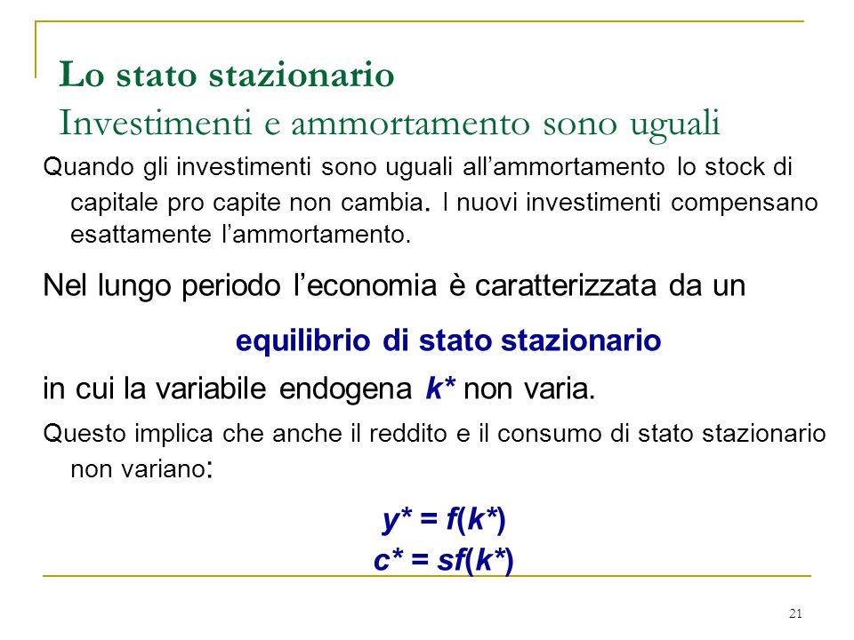 21 Quando gli investimenti sono uguali all'ammortamento lo stock di capitale pro capite non cambia.