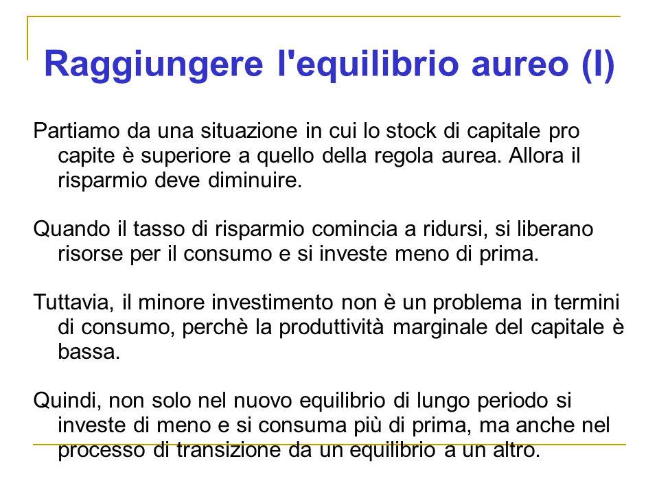Raggiungere l equilibrio aureo (I) Partiamo da una situazione in cui lo stock di capitale pro capite è superiore a quello della regola aurea.
