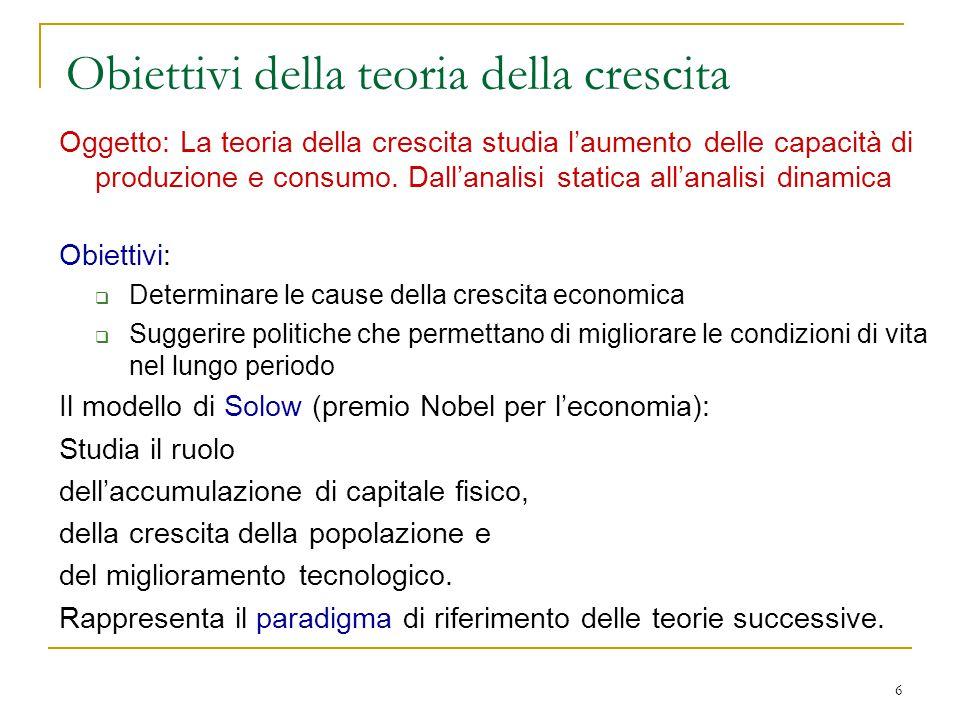 6 Obiettivi della teoria della crescita Oggetto: La teoria della crescita studia l'aumento delle capacità di produzione e consumo.