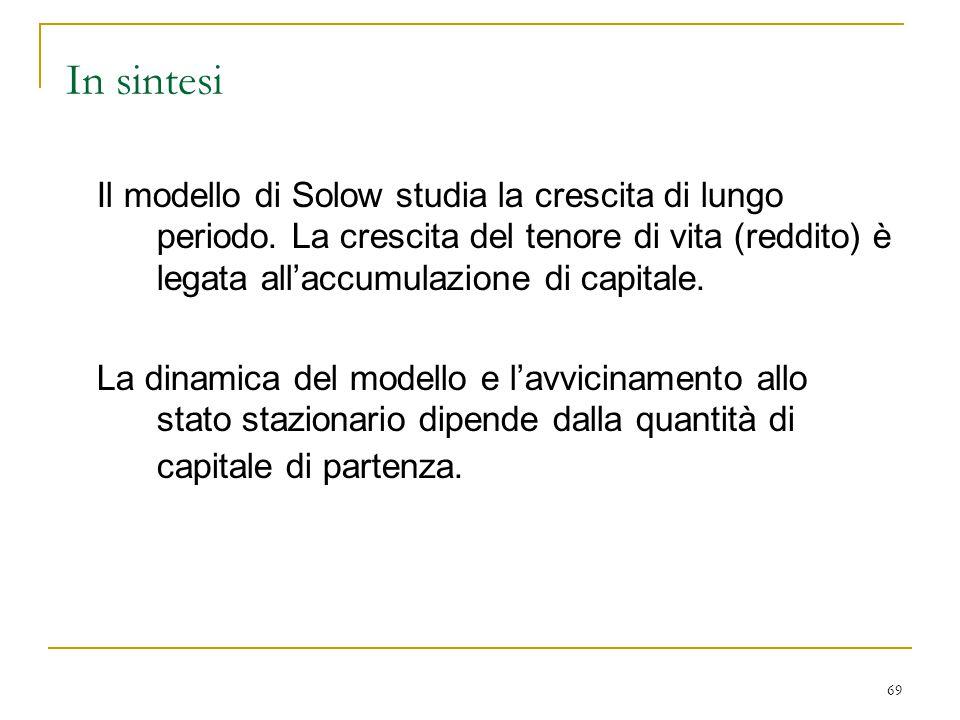 69 In sintesi Il modello di Solow studia la crescita di lungo periodo.