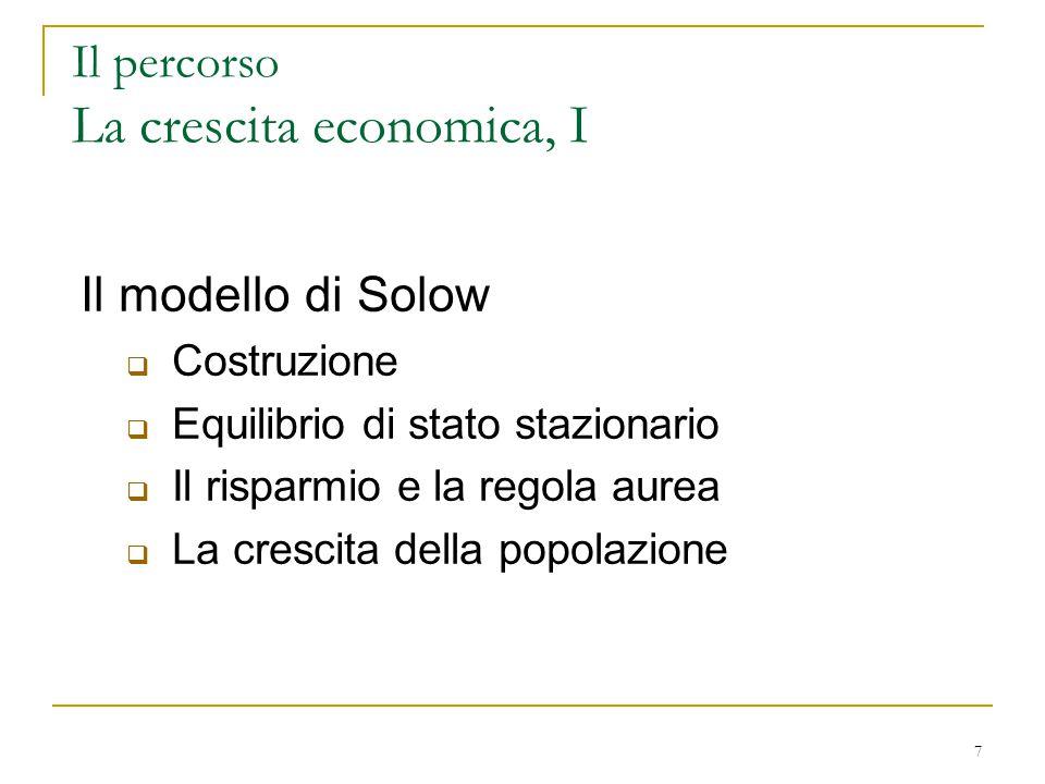 7 Il percorso La crescita economica, I Il modello di Solow  Costruzione  Equilibrio di stato stazionario  Il risparmio e la regola aurea  La crescita della popolazione