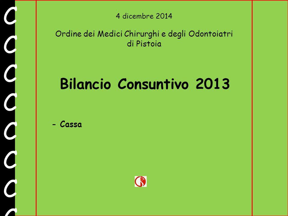 4 dicembre 2014 Ordine dei Medici Chirurghi e degli Odontoiatri di Pistoia CCCCCCCCCCCCCCCC Bilancio Consuntivo 2013 - Cassa