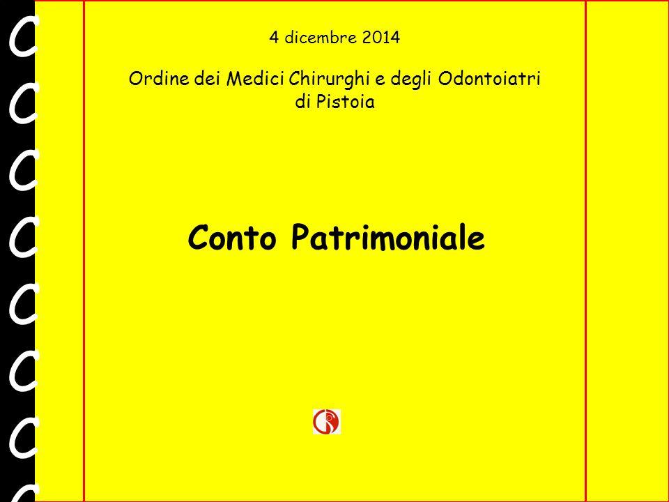 4 dicembre 2014 Ordine dei Medici Chirurghi e degli Odontoiatri di Pistoia CCCCCCCCCCCCCCCC Conto Patrimoniale