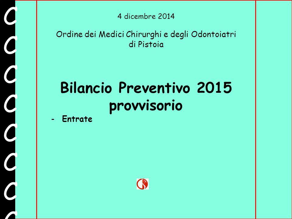 4 dicembre 2014 Ordine dei Medici Chirurghi e degli Odontoiatri di Pistoia CCCCCCCCCCCCCCCC Bilancio Preventivo 2015 provvisorio -Entrate