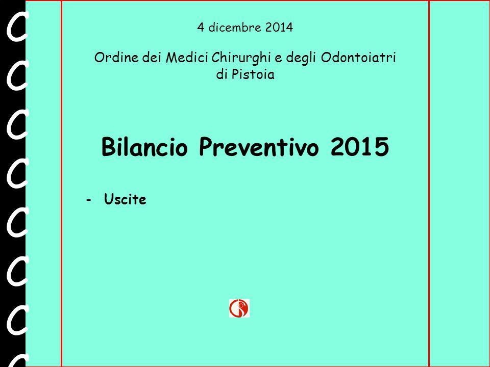 4 dicembre 2014 Ordine dei Medici Chirurghi e degli Odontoiatri di Pistoia CCCCCCCCCCCCCCCC Bilancio Preventivo 2015 -Uscite
