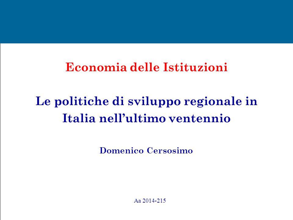 Obiettivi : ripercorrere ed analizzare le politiche regionali realizzate in Italia nei venti anni successivi alla fine dell'Intervento straordinario ; analizzare l' intensità e la qualità degli interventi realizzati.