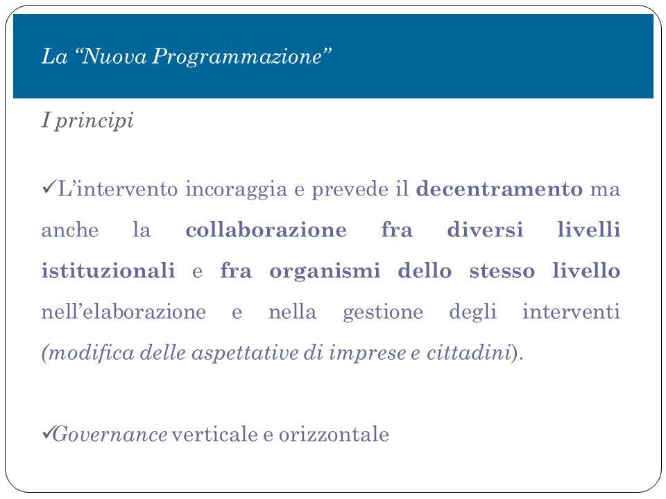 I principi L'intervento incoraggia e prevede il decentramento ma anche la collaborazione fra diversi livelli istituzionali e fra organismi dello stesso livello nell'elaborazione e nella gestione degli interventi (modifica delle aspettative di imprese e cittadini ).