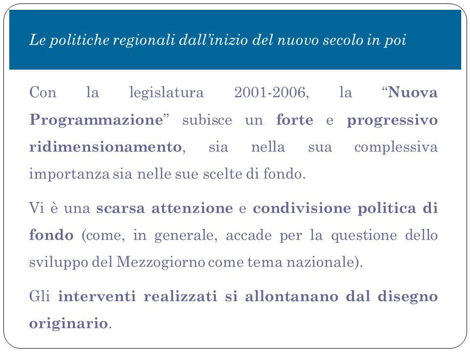 Con la legislatura 2001-2006, la Nuova Programmazione subisce un forte e progressivo ridimensionamento, sia nella sua complessiva importanza sia nelle sue scelte di fondo.