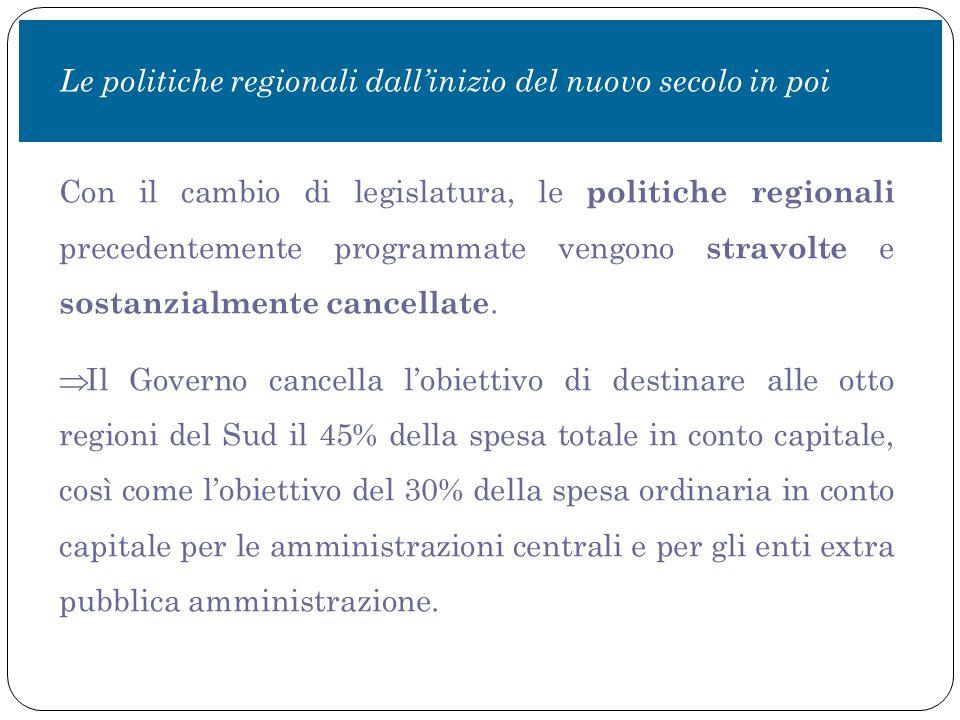 Con il cambio di legislatura, le politiche regionali precedentemente programmate vengono stravolte e sostanzialmente cancellate.