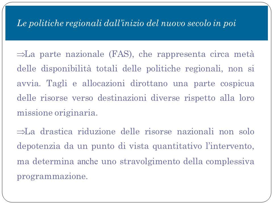  La parte nazionale (FAS), che rappresenta circa metà delle disponibilità totali delle politiche regionali, non si avvia.