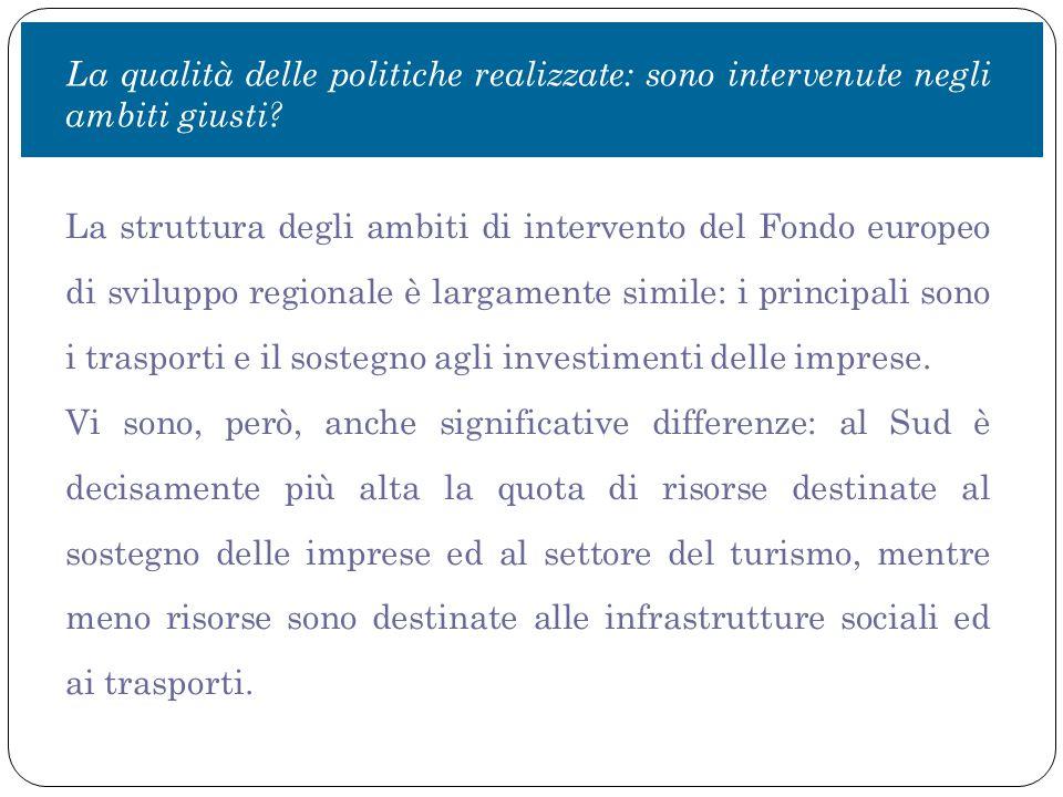La struttura degli ambiti di intervento del Fondo europeo di sviluppo regionale è largamente simile: i principali sono i trasporti e il sostegno agli investimenti delle imprese.