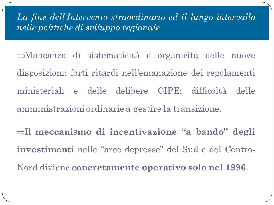 Le principali conclusioni Nel ventennio successivo alla chiusura dell'Intervento straordinario, pur con un percorso non lineare, le politiche di sviluppo territoriale italiane si sono progressivamente ridotte e alla fine quasi completamente cancellate.