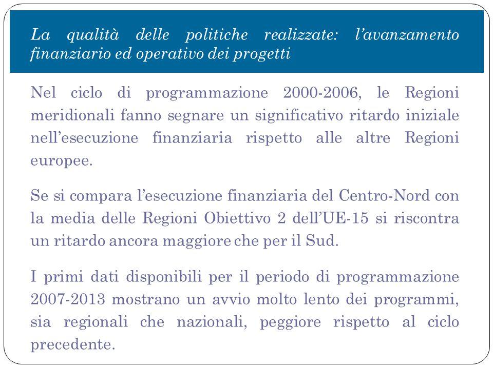 La qualità delle politiche realizzate: l'avanzamento finanziario ed operativo dei progetti Nel ciclo di programmazione 2000-2006, le Regioni meridionali fanno segnare un significativo ritardo iniziale nell'esecuzione finanziaria rispetto alle altre Regioni europee.