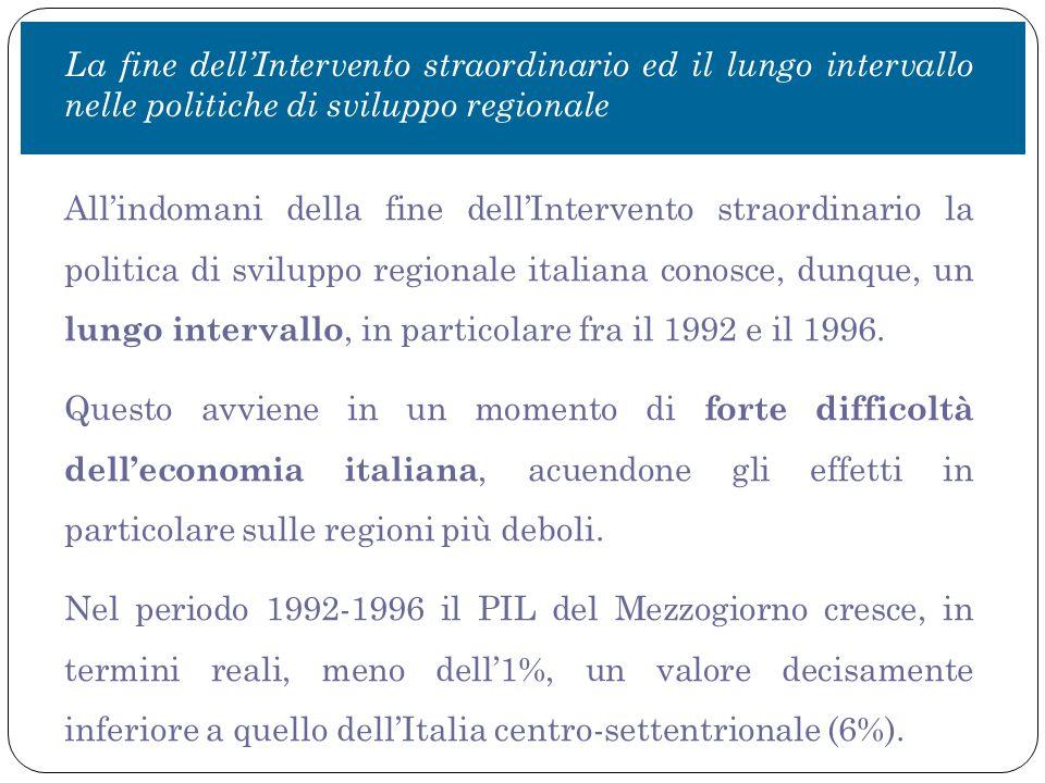 All'indomani della fine dell'Intervento straordinario la politica di sviluppo regionale italiana conosce, dunque, un lungo intervallo, in particolare fra il 1992 e il 1996.