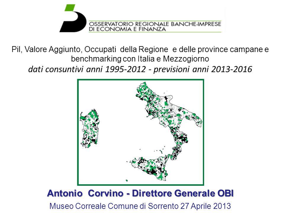 Pil, Valore Aggiunto, Occupati della Regione e delle province campane e benchmarking con Italia e Mezzogiorno dati consuntivi anni 1995-2012 - previsi