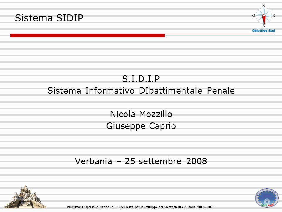 Programma Operativo Nazionale - Sicurezza per lo Sviluppo del Mezzogiorno d Italia 2000-2006 Sistema SIDIP S.I.D.I.P Sistema Informativo DIbattimentale Penale Nicola Mozzillo Giuseppe Caprio Verbania – 25 settembre 2008