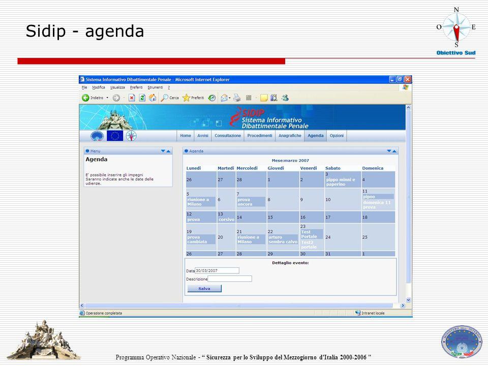 Programma Operativo Nazionale - Sicurezza per lo Sviluppo del Mezzogiorno d Italia 2000-2006 Sidip - agenda
