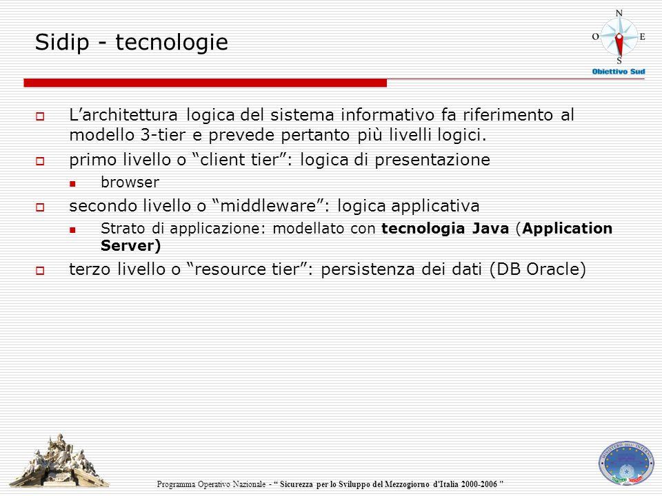 Programma Operativo Nazionale - Sicurezza per lo Sviluppo del Mezzogiorno d Italia 2000-2006 Sidip - tecnologie  L'architettura logica del sistema informativo fa riferimento al modello 3-tier e prevede pertanto più livelli logici.